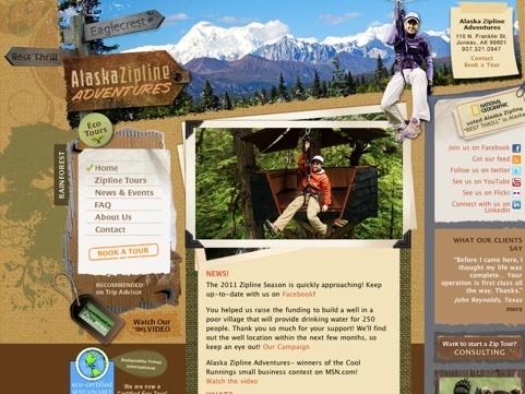 Alaska Zipline Adventures Travel Website Designs