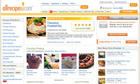 AllRecipes.com Recipe Web Sites