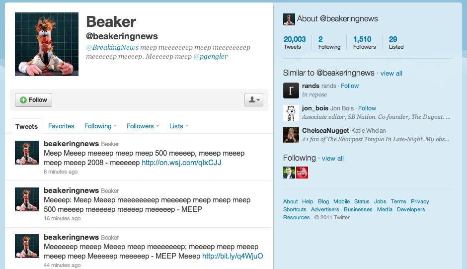 Beaker on Twitter