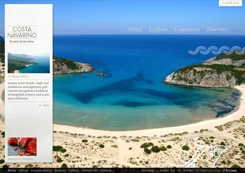 Costa Navarino Travel Website Designs