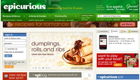 Epicurious.com Recipe Web Sites