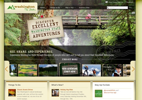 Experience Washington Travel Website Designs
