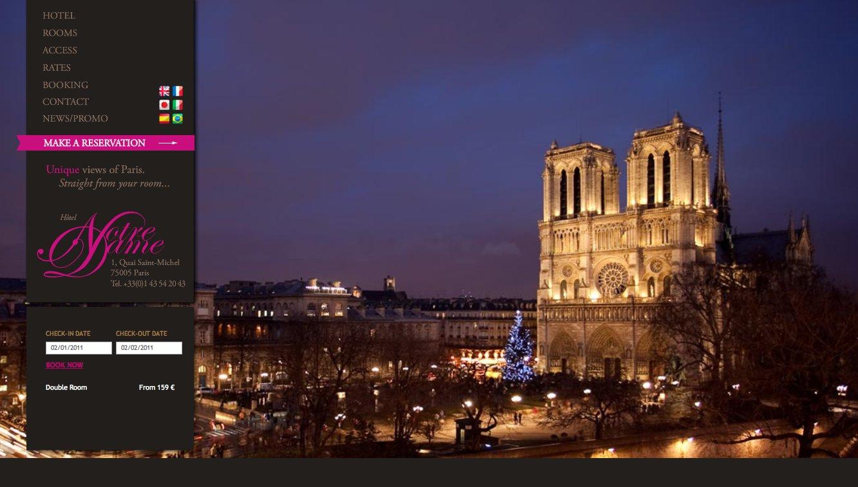 Hotel Notre Dame, Paris France Web Design