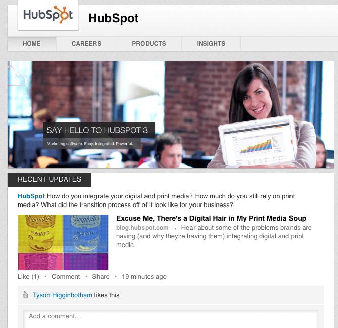 LinkedIn Company Page Hubspot