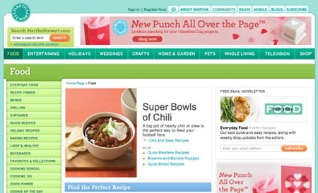 MarthaStewart.com Recipe Web Sites