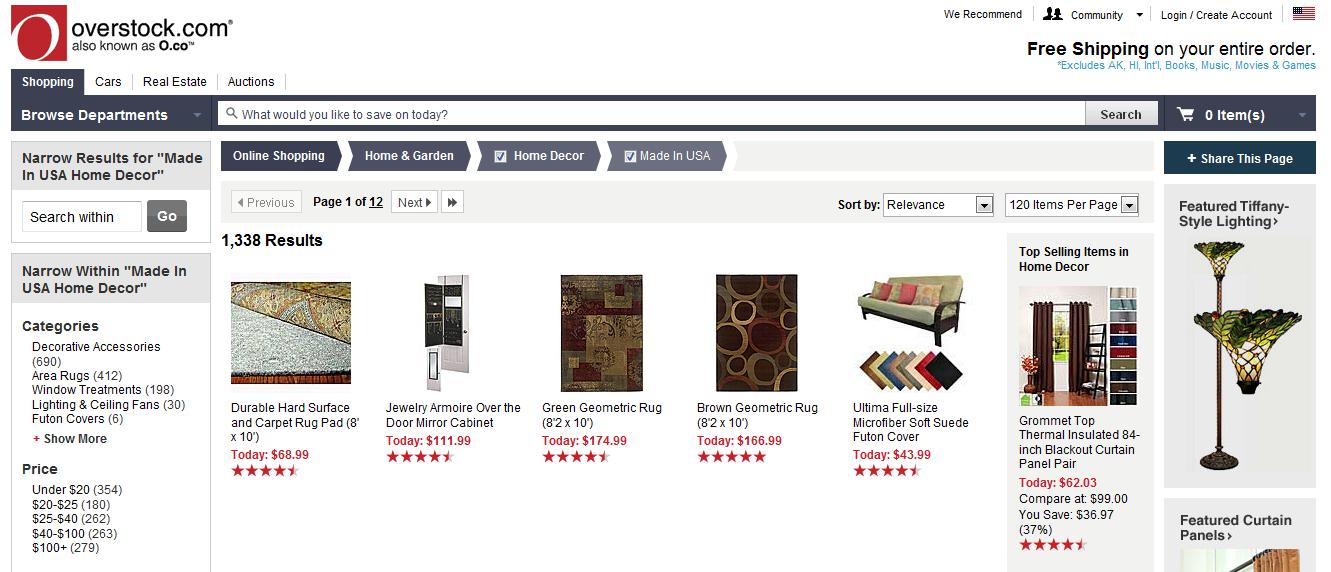 Overstock E-Commerce Web Experiences