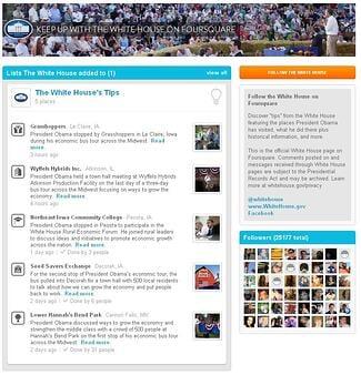 President Obama Foursquare Page
