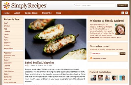 SimplyRecipes.com Recipe Web Sites
