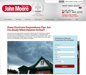 John Moore Services landing page