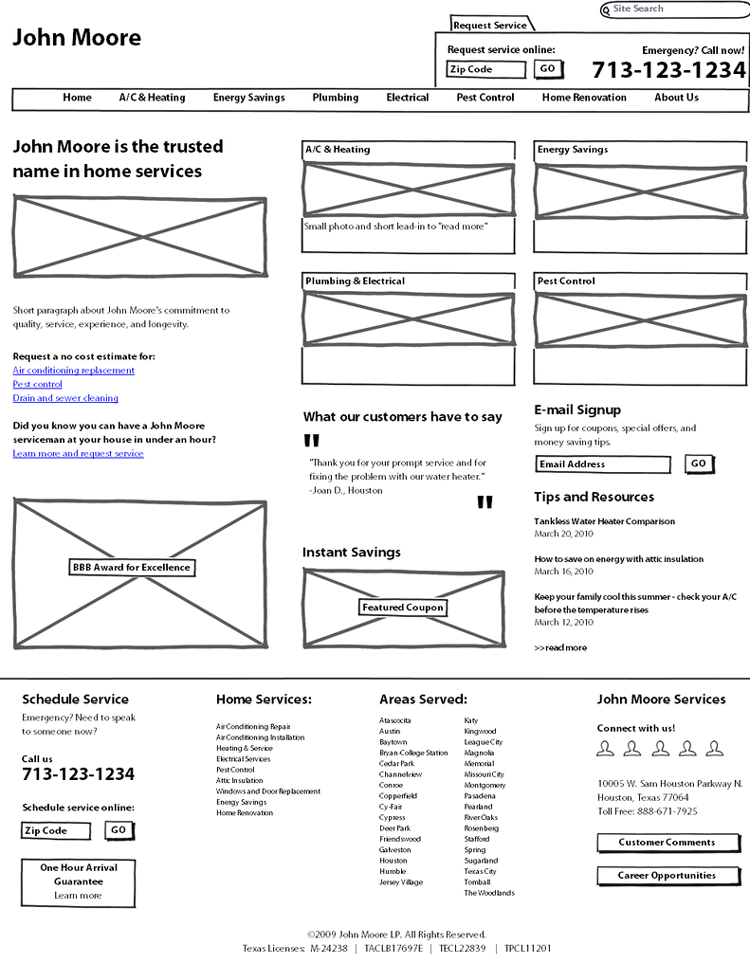 John Moore Services wireframe