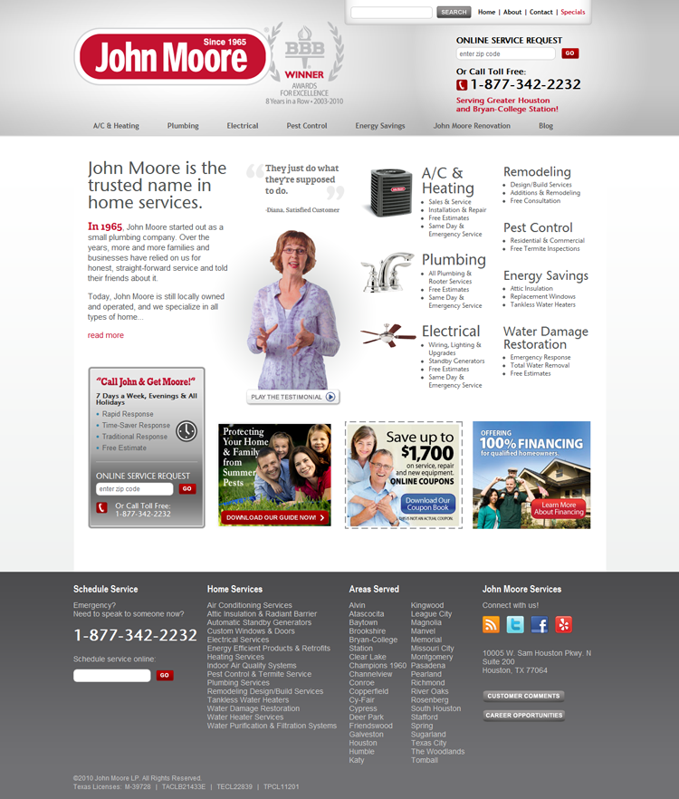 John Moore Services homepage