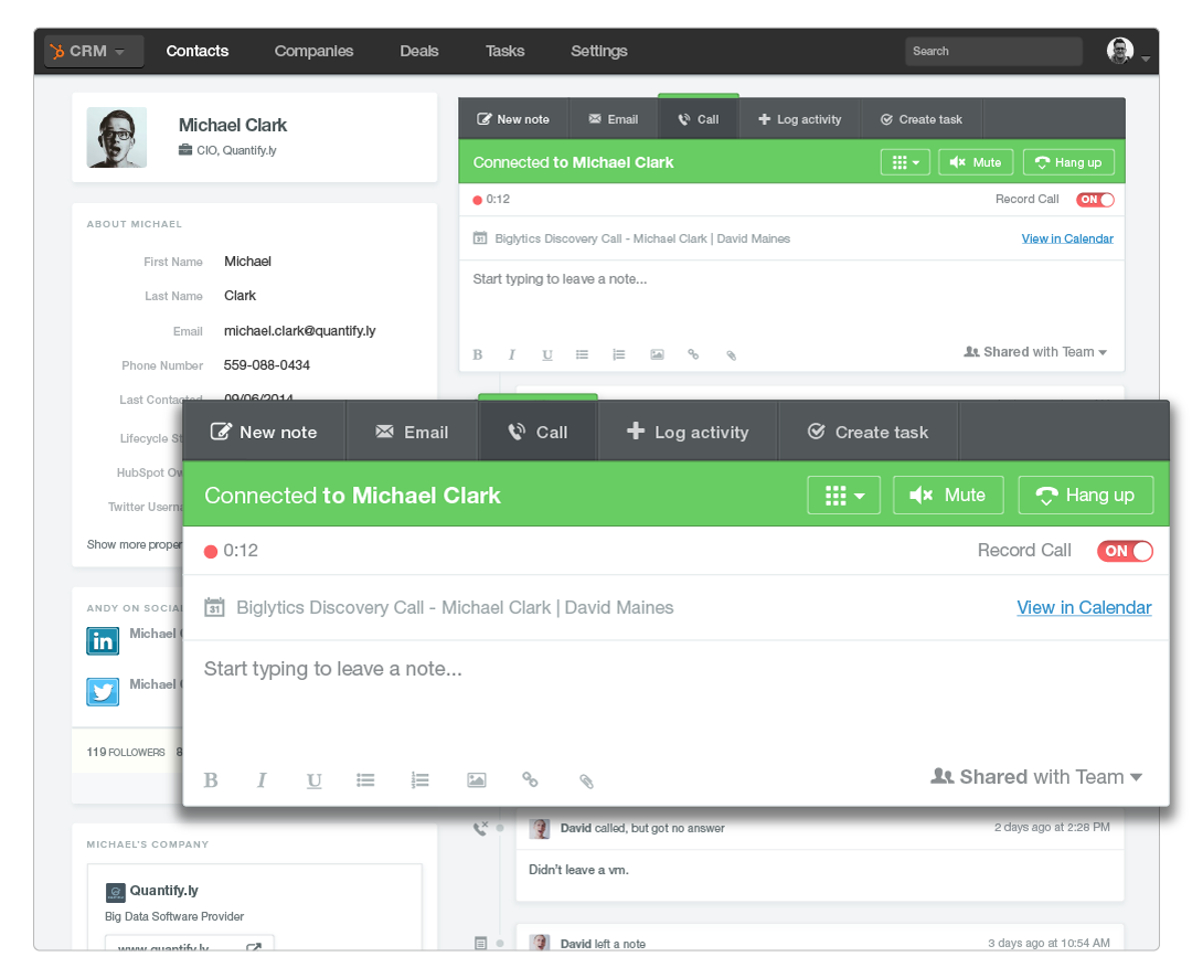 Use HubSpot Sidekick to make sales calls