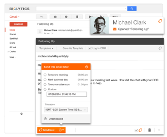 Use HubSpot's sidekick to schedule emails