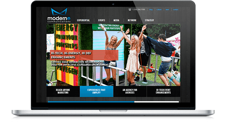 Moderne Communications successfully reduced website content clutter with new design