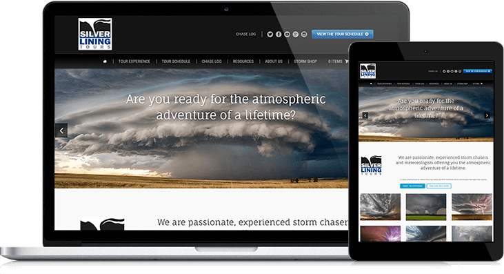 A storm photography showcase is the highlight of Silver Lining Tours website redesign
