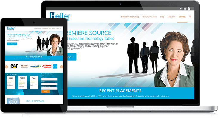 Heller Search's responsive website positions them as thought leaders