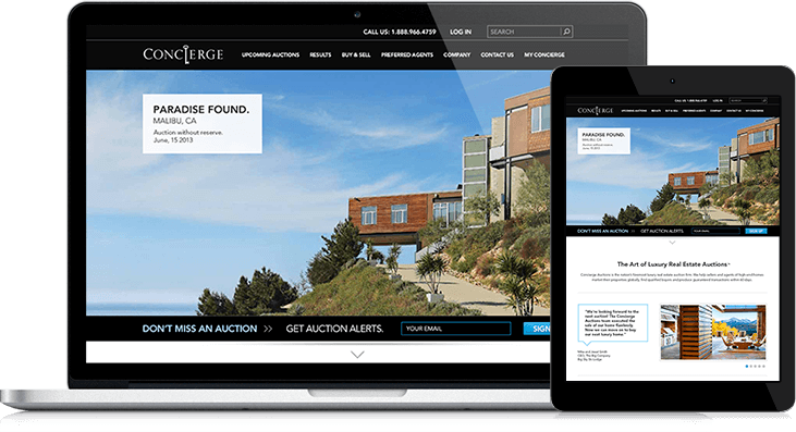 Concierge Auctions Website Redesign Offers Ease of Use and an Eye-popping Design