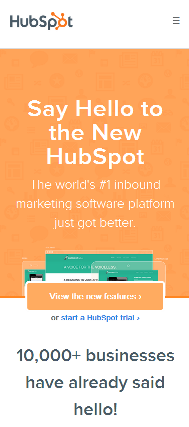 Hubspot's Mobile Site