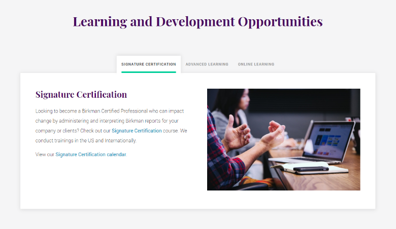 Birkman Learning and Development Opportunities Tabs