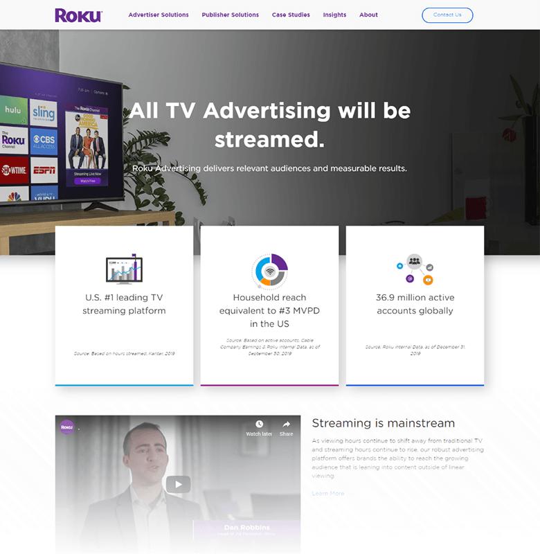 Roku Advertising Homepage