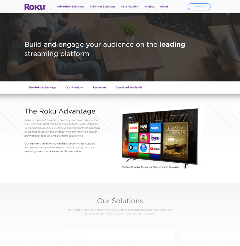 Roku Advertising Solutions Page