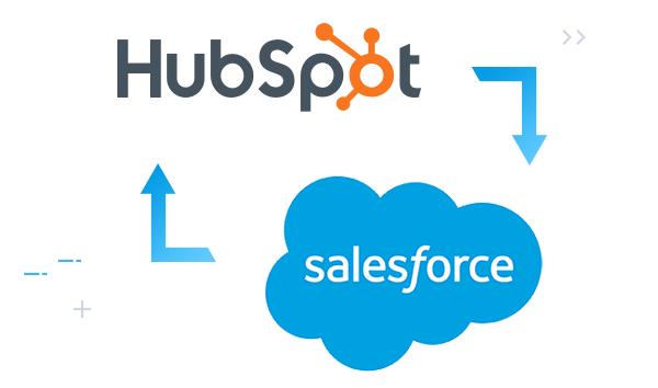 custom 2-way integration hubspot salesforce diagram
